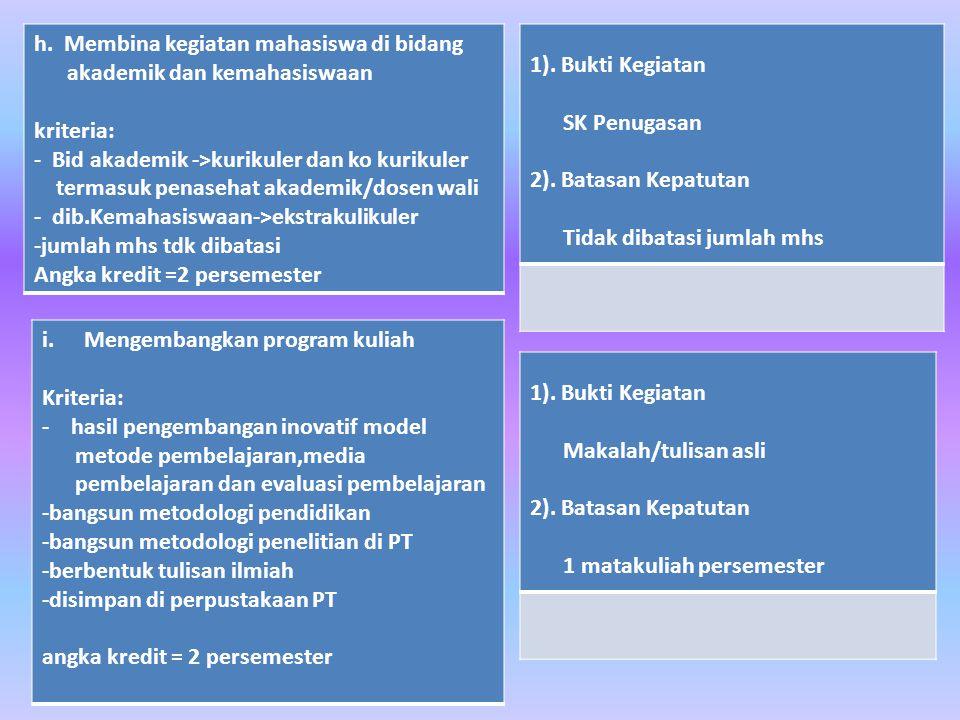 h. Membina kegiatan mahasiswa di bidang akademik dan kemahasiswaan kriteria: - Bid akademik ->kurikuler dan ko kurikuler termasuk penasehat akademik/d