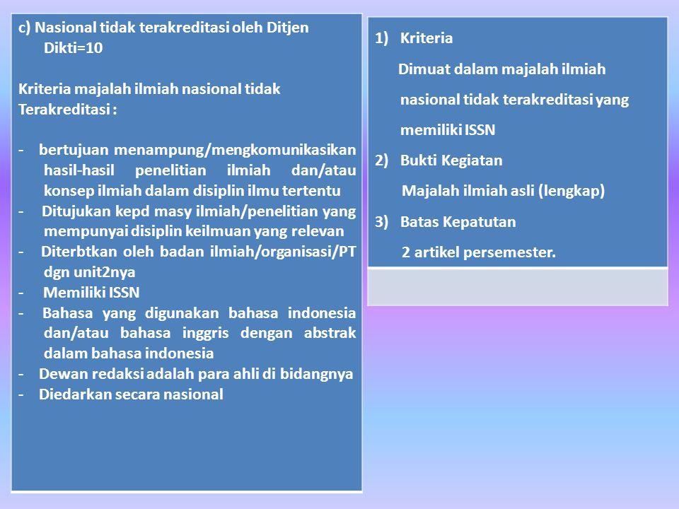 c) Nasional tidak terakreditasi oleh Ditjen Dikti=10 Kriteria majalah ilmiah nasional tidak Terakreditasi : - bertujuan menampung/mengkomunikasikan hasil-hasil penelitian ilmiah dan/atau konsep ilmiah dalam disiplin ilmu tertentu - Ditujukan kepd masy ilmiah/penelitian yang mempunyai disiplin keilmuan yang relevan - Diterbtkan oleh badan ilmiah/organisasi/PT dgn unit2nya - Memiliki ISSN - Bahasa yang digunakan bahasa indonesia dan/atau bahasa inggris dengan abstrak dalam bahasa indonesia - Dewan redaksi adalah para ahli di bidangnya - Diedarkan secara nasional 1)Kriteria Dimuat dalam majalah ilmiah nasional tidak terakreditasi yang memiliki ISSN 2) Bukti Kegiatan Majalah ilmiah asli (lengkap) 3) Batas Kepatutan 2 artikel persemester.