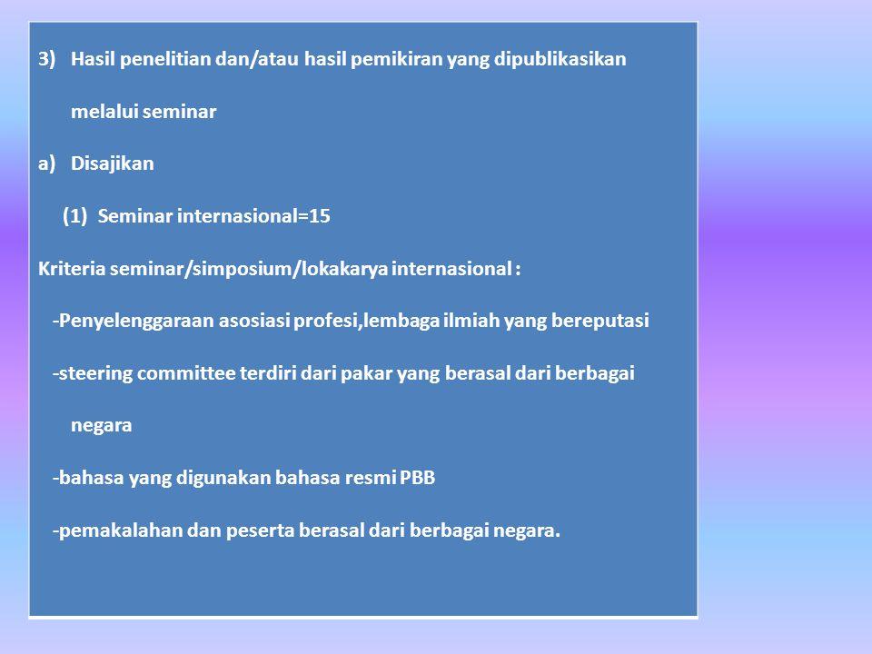 3) Hasil penelitian dan/atau hasil pemikiran yang dipublikasikan melalui seminar a)Disajikan (1) Seminar internasional=15 Kriteria seminar/simposium/lokakarya internasional : -Penyelenggaraan asosiasi profesi,lembaga ilmiah yang bereputasi -steering committee terdiri dari pakar yang berasal dari berbagai negara -bahasa yang digunakan bahasa resmi PBB -pemakalahan dan peserta berasal dari berbagai negara.