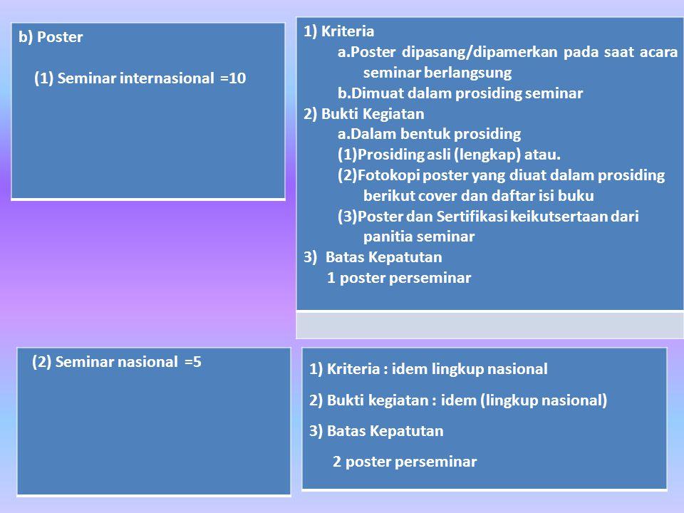 b) Poster (1) Seminar internasional =10 (2) Seminar nasional =5 1) Kriteria : idem lingkup nasional 2) Bukti kegiatan : idem (lingkup nasional) 3) Batas Kepatutan 2 poster perseminar 1) Kriteria a.Poster dipasang/dipamerkan pada saat acara seminar berlangsung b.Dimuat dalam prosiding seminar 2) Bukti Kegiatan a.Dalam bentuk prosiding (1)Prosiding asli (lengkap) atau.