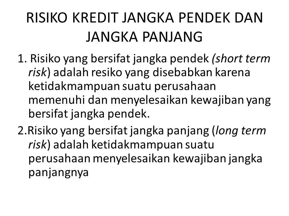 RISIKO KREDIT JANGKA PENDEK DAN JANGKA PANJANG 1.
