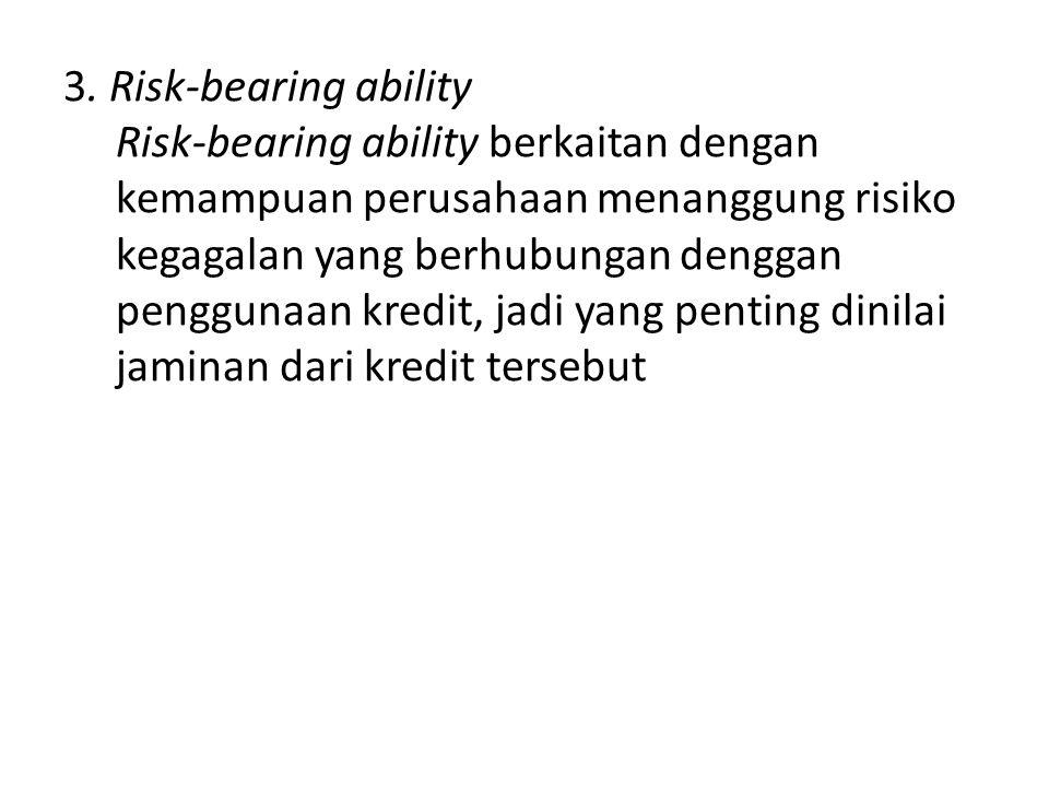 3. Risk-bearing ability Risk-bearing ability berkaitan dengan kemampuan perusahaan menanggung risiko kegagalan yang berhubungan denggan penggunaan kre
