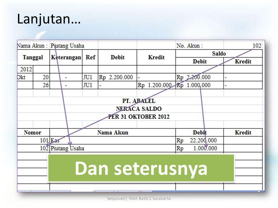 Lanjutan… Dan seterusnya Setyowati| SMA Batik 2 Surakarta