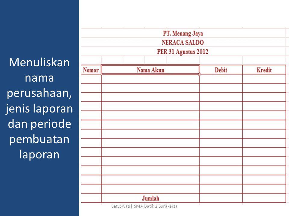 Menuliskan nama perusahaan, jenis laporan dan periode pembuatan laporan Setyowati| SMA Batik 2 Surakarta