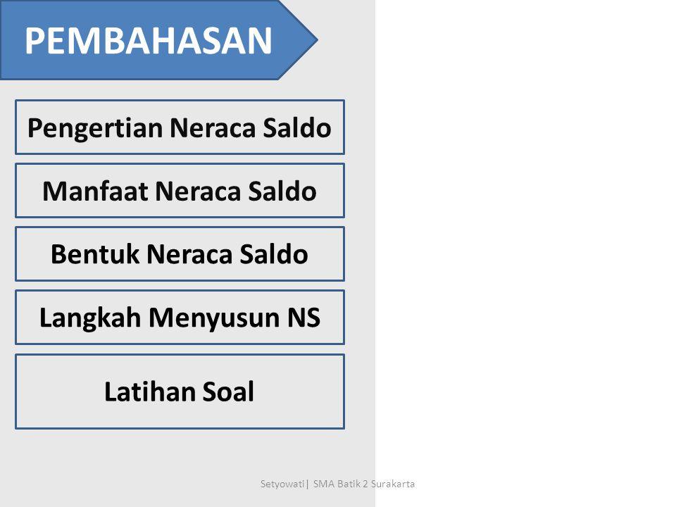 PEMBAHASAN Pengertian Neraca Saldo Manfaat Neraca Saldo Bentuk Neraca Saldo Langkah Menyusun NS Latihan Soal Setyowati| SMA Batik 2 Surakarta