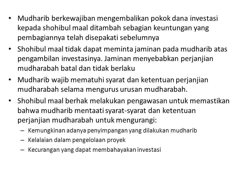 Mudharib berkewajiban mengembalikan pokok dana investasi kepada shohibul maal ditambah sebagian keuntungan yang pembagiannya telah disepakati sebelumn