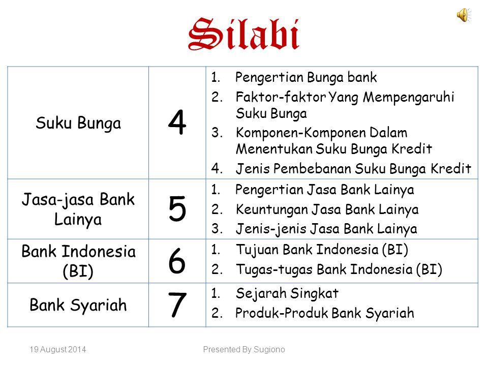 Silabi Suku Bunga 4 1.Pengertian Bunga bank 2.Faktor-faktor Yang Mempengaruhi Suku Bunga 3.Komponen-Komponen Dalam Menentukan Suku Bunga Kredit 4.Jeni