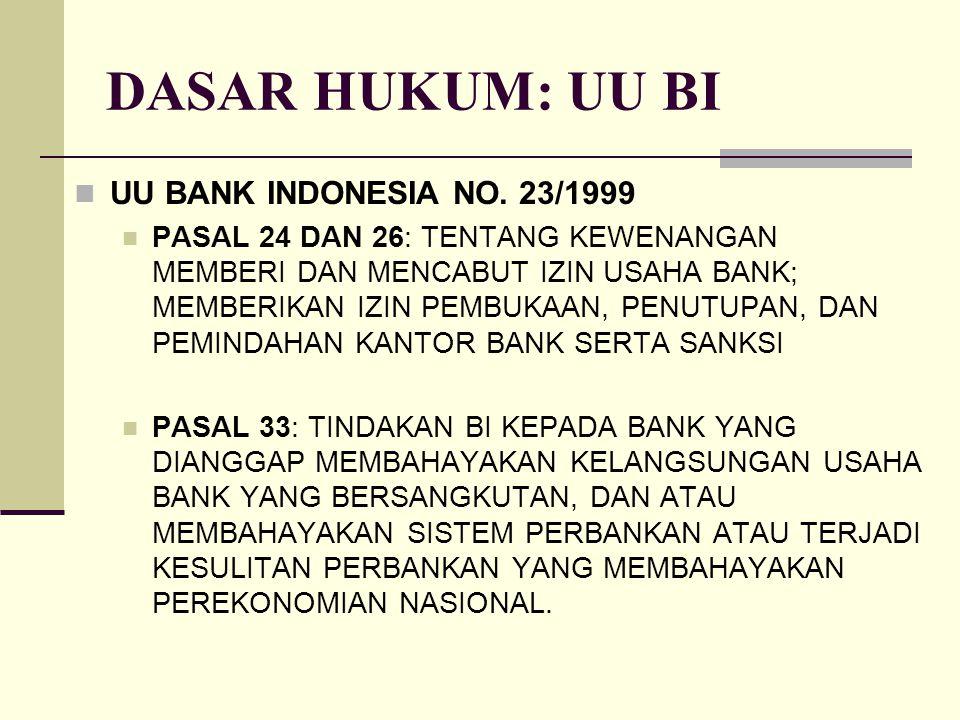 DASAR HUKUM: UU BI UU BANK INDONESIA NO. 23/1999 PASAL 24 DAN 26: TENTANG KEWENANGAN MEMBERI DAN MENCABUT IZIN USAHA BANK; MEMBERIKAN IZIN PEMBUKAAN,