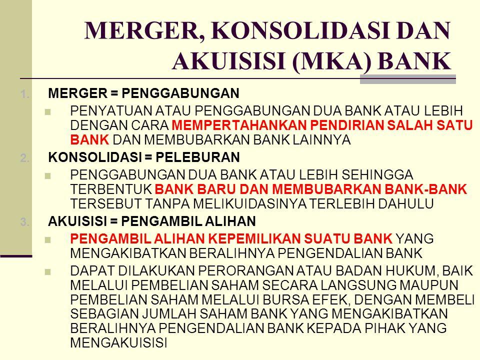 MERGER, KONSOLIDASI DAN AKUISISI (MKA) BANK 1. MERGER = PENGGABUNGAN PENYATUAN ATAU PENGGABUNGAN DUA BANK ATAU LEBIH DENGAN CARA MEMPERTAHANKAN PENDIR