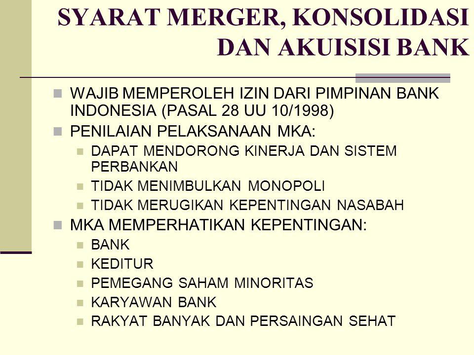 SYARAT MERGER, KONSOLIDASI DAN AKUISISI BANK WAJIB MEMPEROLEH IZIN DARI PIMPINAN BANK INDONESIA (PASAL 28 UU 10/1998) PENILAIAN PELAKSANAAN MKA: DAPAT