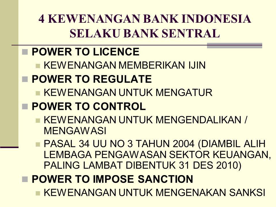 4 KEWENANGAN BANK INDONESIA SELAKU BANK SENTRAL POWER TO LICENCE KEWENANGAN MEMBERIKAN IJIN POWER TO REGULATE KEWENANGAN UNTUK MENGATUR POWER TO CONTR