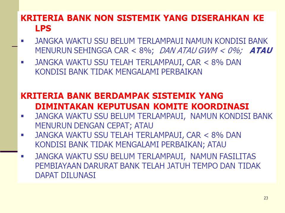 23 6.5. Penanganan Bank Bermasalah KRITERIA BANK NON SISTEMIK YANG DISERAHKAN KE LPS  JANGKA WAKTU SSU BELUM TERLAMPAUI NAMUN KONDISI BANK MENURUN SE