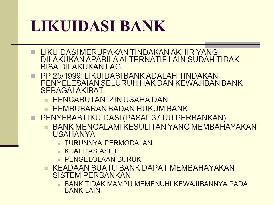 LIKUIDASI BANK LIKUIDASI MERUPAKAN TINDAKAN AKHIR YANG DILAKUKAN APABILA ALTERNATIF LAIN SUDAH TIDAK BISA DILAKUKAN LAGI PP 25/1999: LIKUIDASI BANK AD