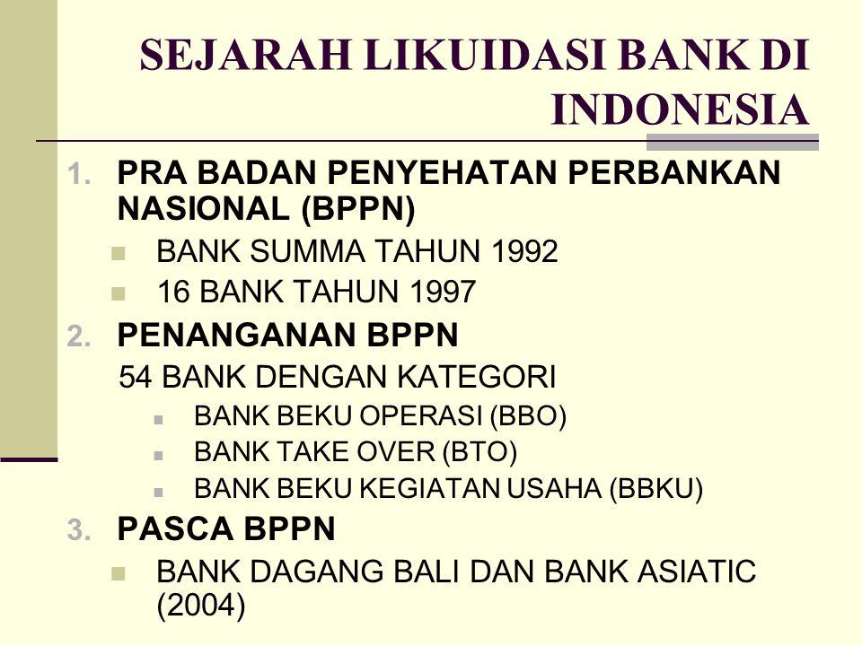 SEJARAH LIKUIDASI BANK DI INDONESIA 1. PRA BADAN PENYEHATAN PERBANKAN NASIONAL (BPPN) BANK SUMMA TAHUN 1992 16 BANK TAHUN 1997 2. PENANGANAN BPPN 54 B