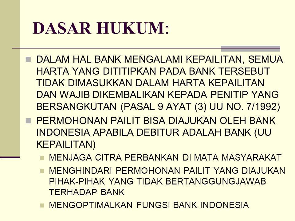 DASAR HUKUM: DALAM HAL BANK MENGALAMI KEPAILITAN, SEMUA HARTA YANG DITITIPKAN PADA BANK TERSEBUT TIDAK DIMASUKKAN DALAM HARTA KEPAILITAN DAN WAJIB DIK