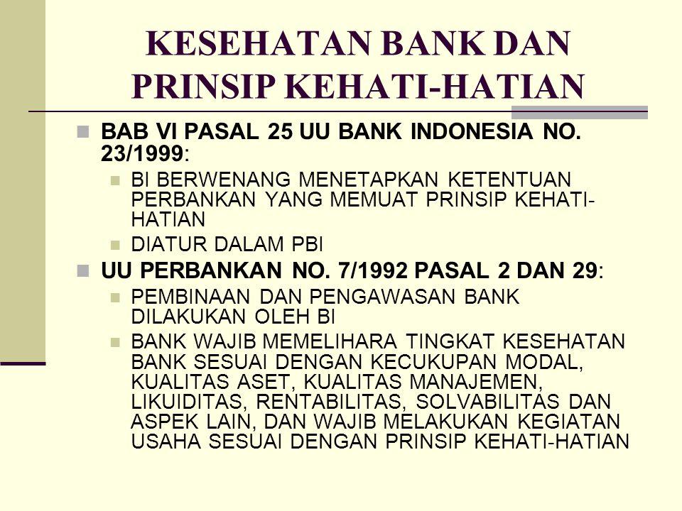 KESEHATAN BANK DAN PRINSIP KEHATI-HATIAN BAB VI PASAL 25 UU BANK INDONESIA NO. 23/1999: BI BERWENANG MENETAPKAN KETENTUAN PERBANKAN YANG MEMUAT PRINSI
