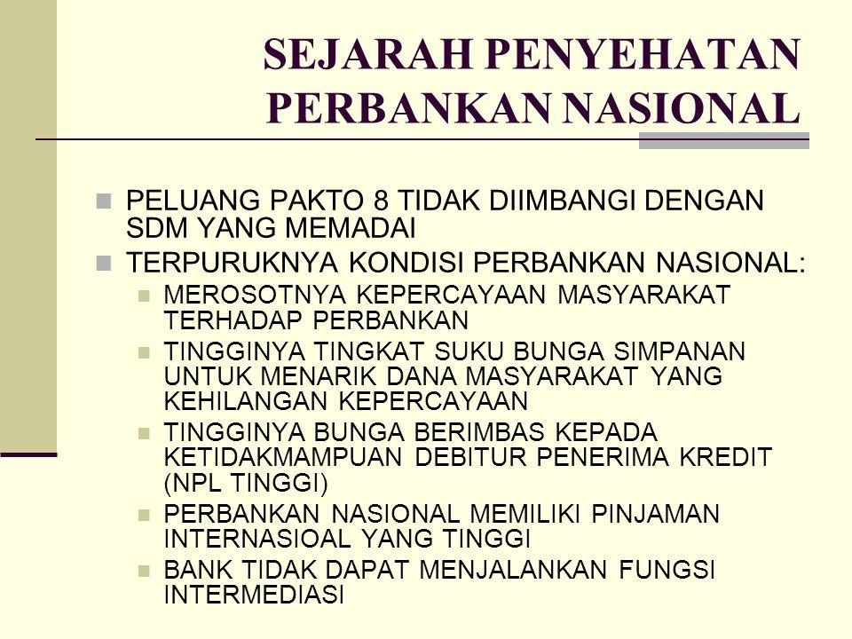 SEJARAH PENYEHATAN PERBANKAN NASIONAL PELUANG PAKTO 8 TIDAK DIIMBANGI DENGAN SDM YANG MEMADAI TERPURUKNYA KONDISI PERBANKAN NASIONAL: MEROSOTNYA KEPER