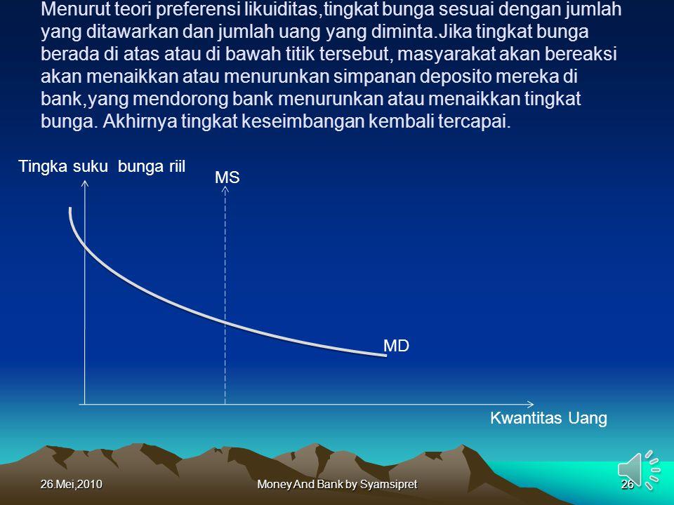26.Mei,2010Money And Bank by Syamsipret26 Menurut teori preferensi likuiditas,tingkat bunga sesuai dengan jumlah yang ditawarkan dan jumlah uang yang