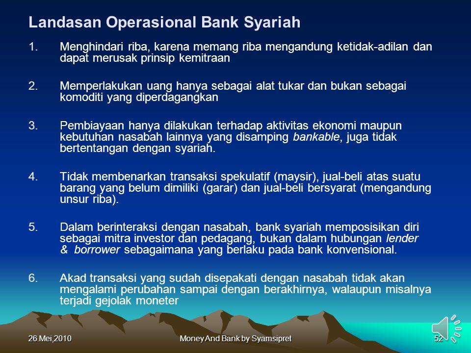 26.Mei,2010Money And Bank by Syamsipret52 Landasan Operasional Bank Syariah 1.Menghindari riba, karena memang riba mengandung ketidak-adilan dan dapat