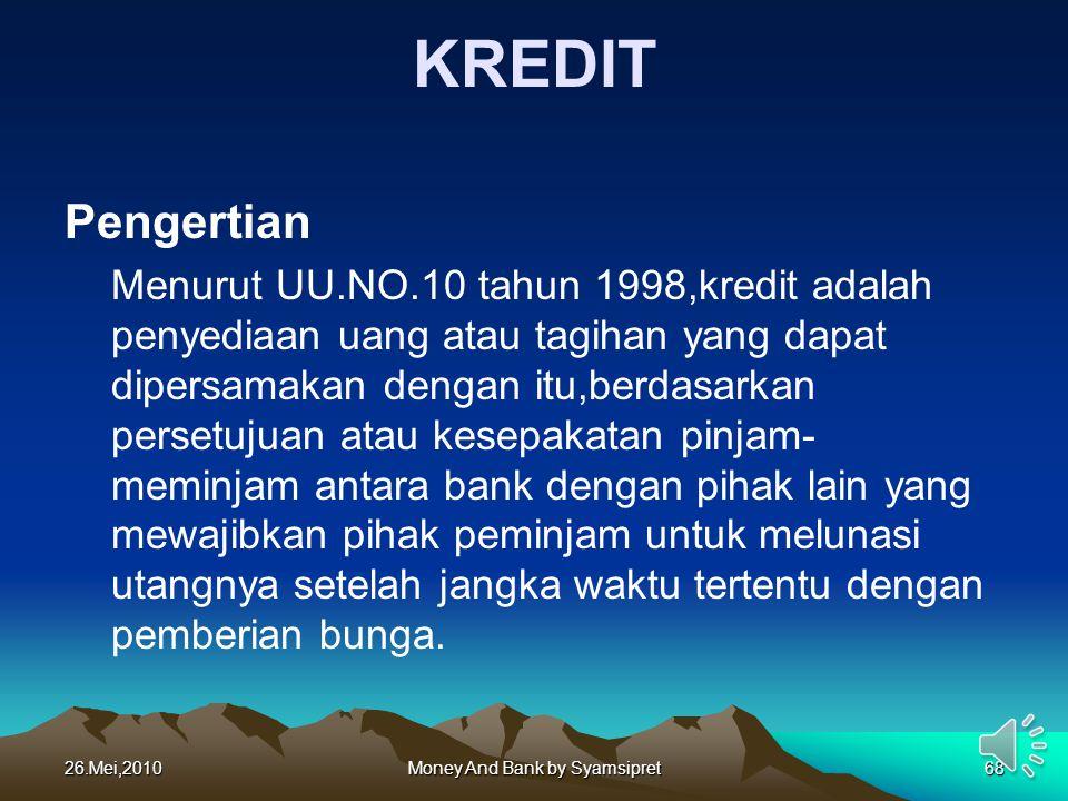KREDIT Pengertian Menurut UU.NO.10 tahun 1998,kredit adalah penyediaan uang atau tagihan yang dapat dipersamakan dengan itu,berdasarkan persetujuan at