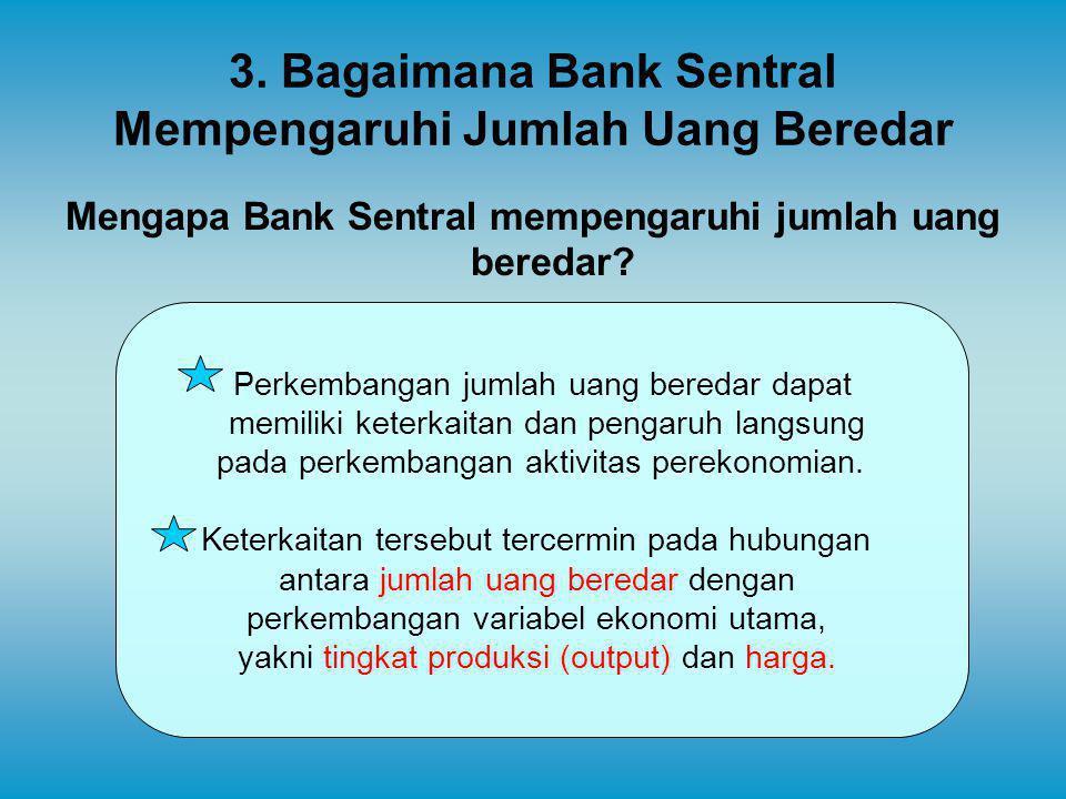 3. Bagaimana Bank Sentral Mempengaruhi Jumlah Uang Beredar Mengapa Bank Sentral mempengaruhi jumlah uang beredar? Perkembangan jumlah uang beredar dap