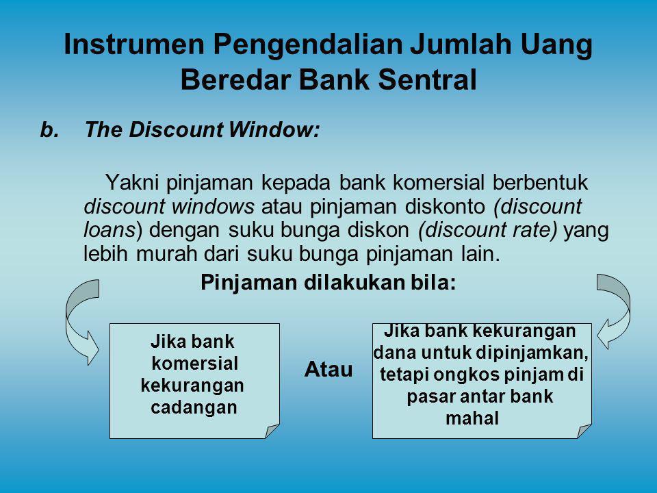 Instrumen Pengendalian Jumlah Uang Beredar Bank Sentral b.The Discount Window: Yakni pinjaman kepada bank komersial berbentuk discount windows atau pi