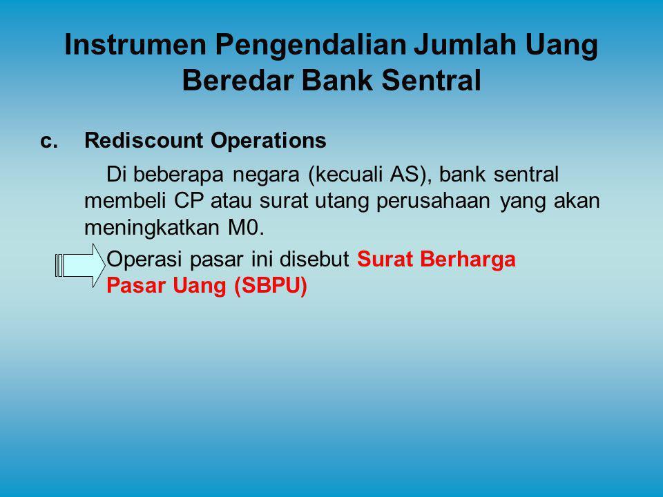 Instrumen Pengendalian Jumlah Uang Beredar Bank Sentral c.Rediscount Operations Di beberapa negara (kecuali AS), bank sentral membeli CP atau surat ut