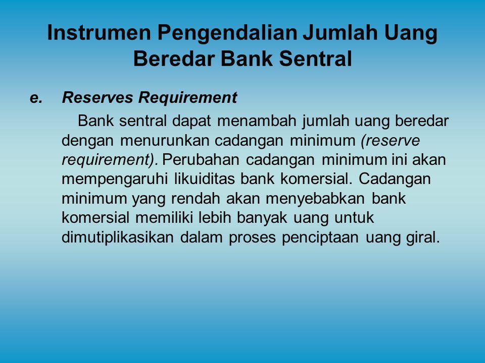 Instrumen Pengendalian Jumlah Uang Beredar Bank Sentral e.Reserves Requirement Bank sentral dapat menambah jumlah uang beredar dengan menurunkan cadan