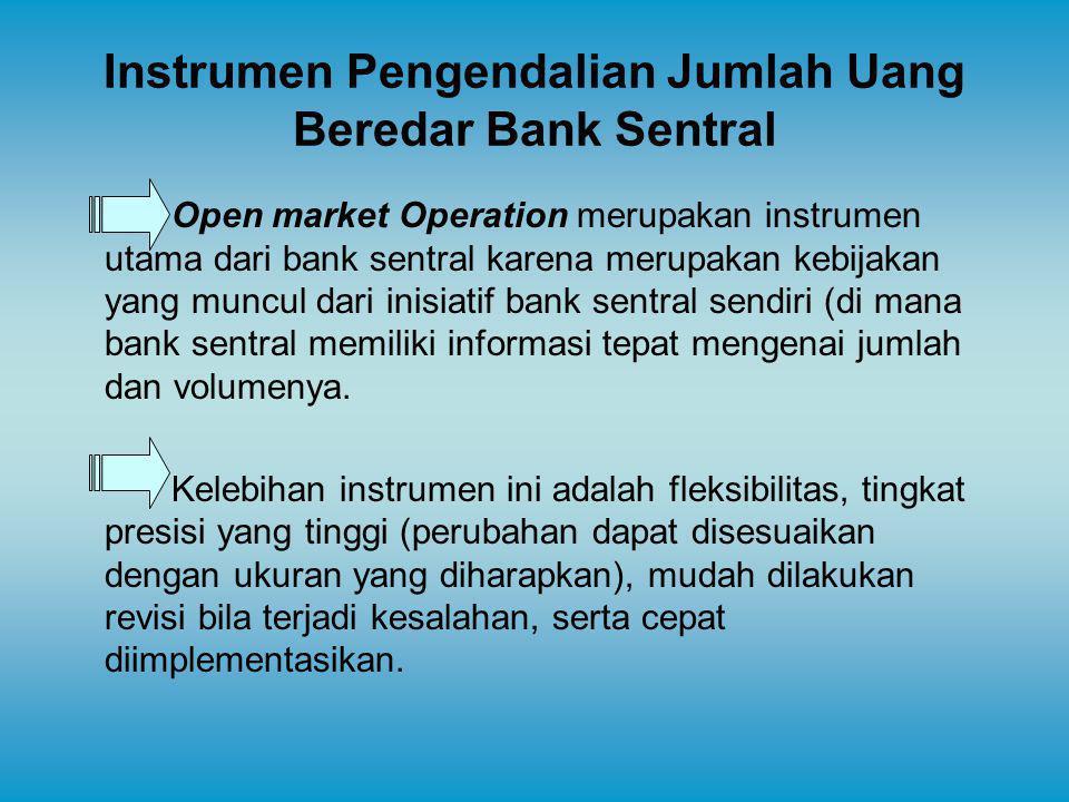 Instrumen Pengendalian Jumlah Uang Beredar Bank Sentral Open market Operation merupakan instrumen utama dari bank sentral karena merupakan kebijakan y