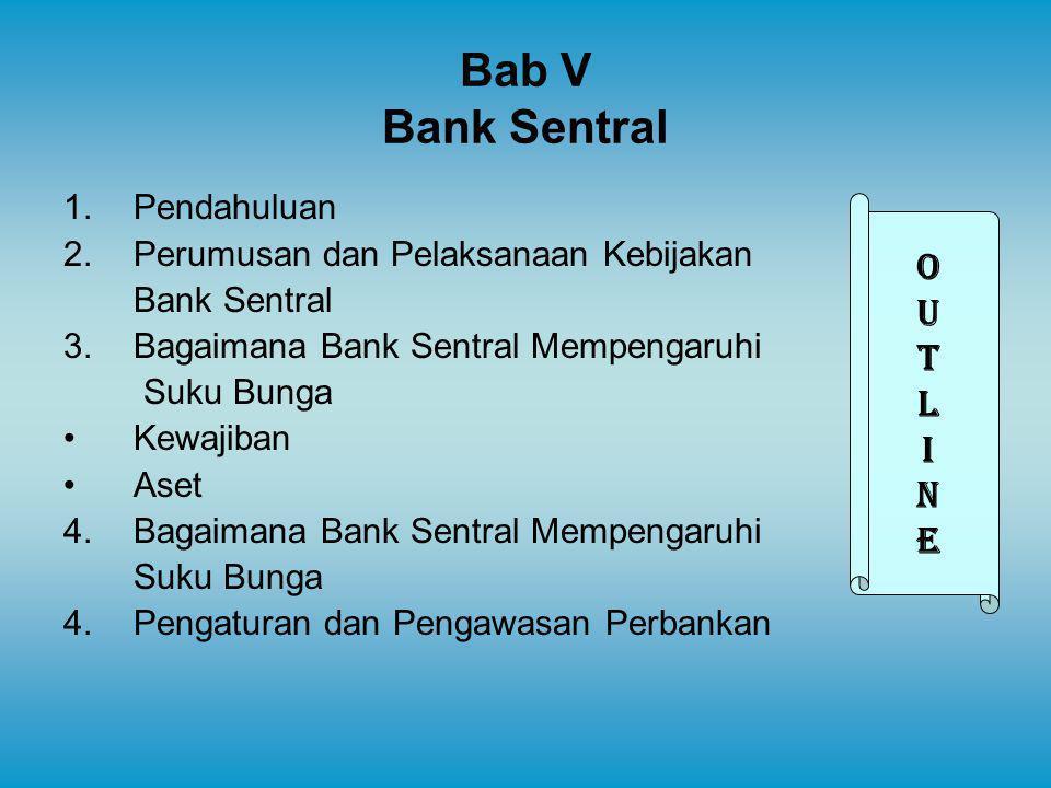 Bab V Bank Sentral 1.Pendahuluan 2.Perumusan dan Pelaksanaan Kebijakan Bank Sentral 3.Bagaimana Bank Sentral Mempengaruhi Suku Bunga Kewajiban Aset 4.