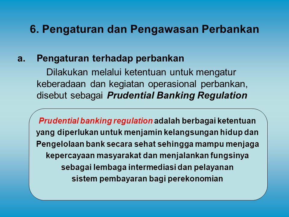 6. Pengaturan dan Pengawasan Perbankan a.Pengaturan terhadap perbankan Dilakukan melalui ketentuan untuk mengatur keberadaan dan kegiatan operasional