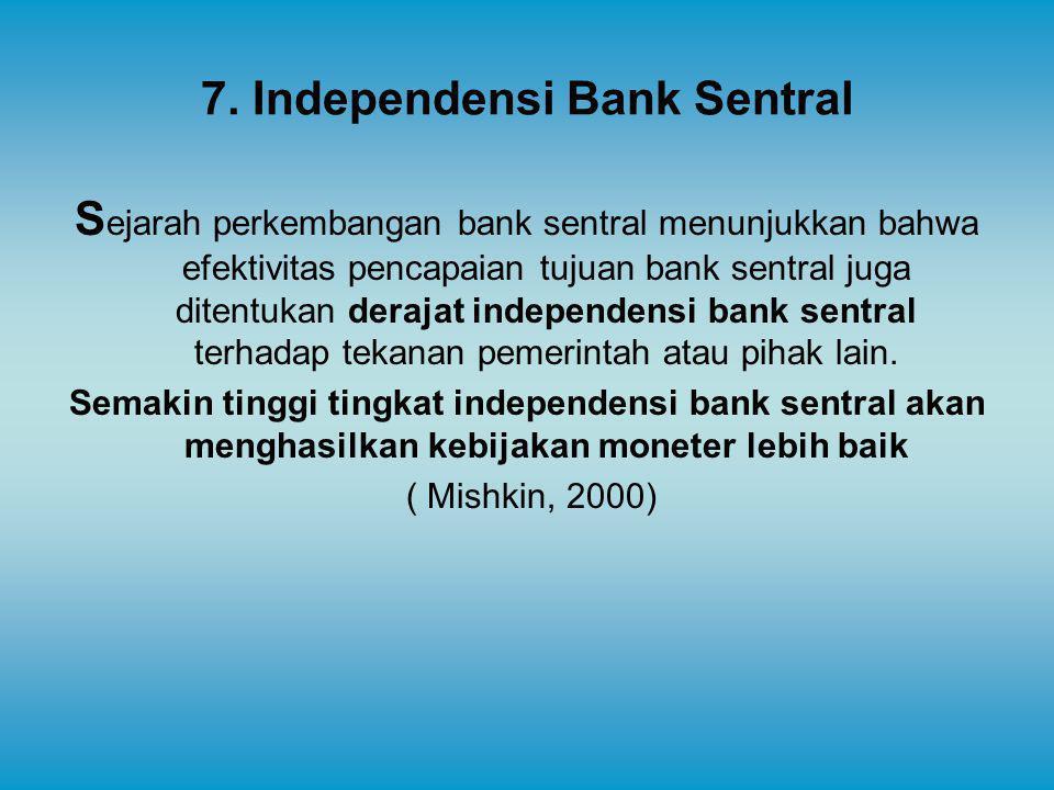 7. Independensi Bank Sentral S ejarah perkembangan bank sentral menunjukkan bahwa efektivitas pencapaian tujuan bank sentral juga ditentukan derajat i
