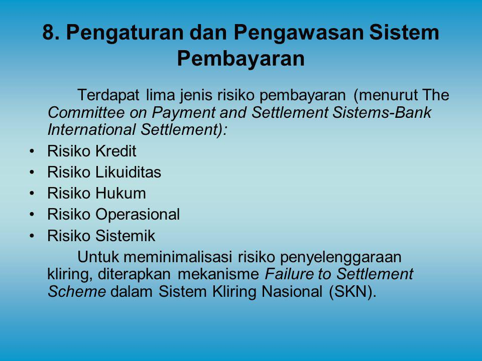 8. Pengaturan dan Pengawasan Sistem Pembayaran Terdapat lima jenis risiko pembayaran (menurut The Committee on Payment and Settlement Sistems-Bank Int