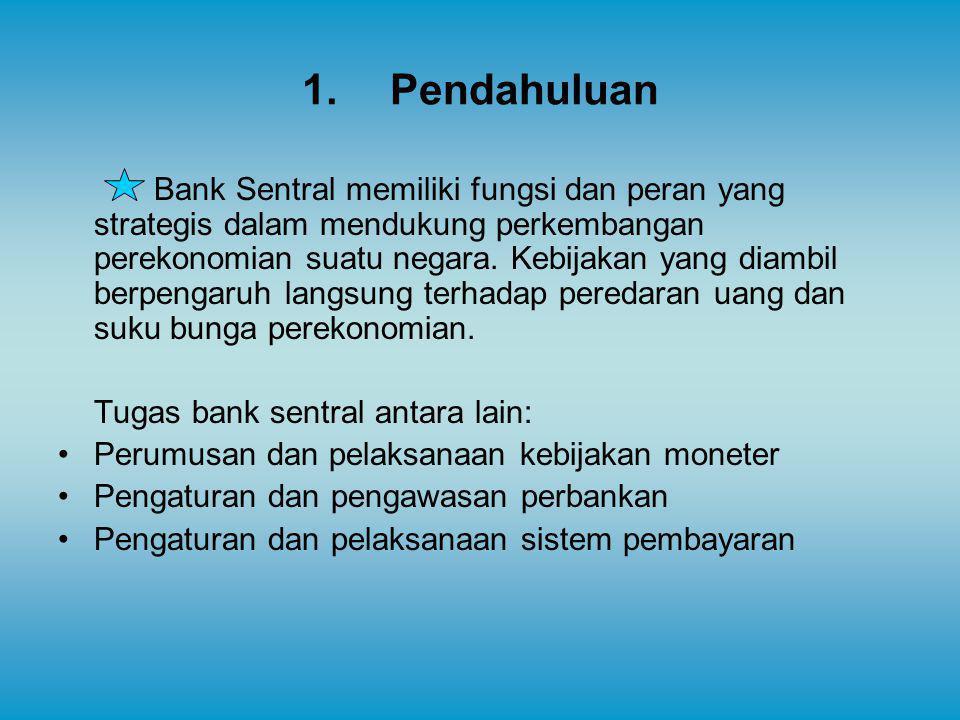 1.Pendahuluan Bank Sentral memiliki fungsi dan peran yang strategis dalam mendukung perkembangan perekonomian suatu negara. Kebijakan yang diambil ber