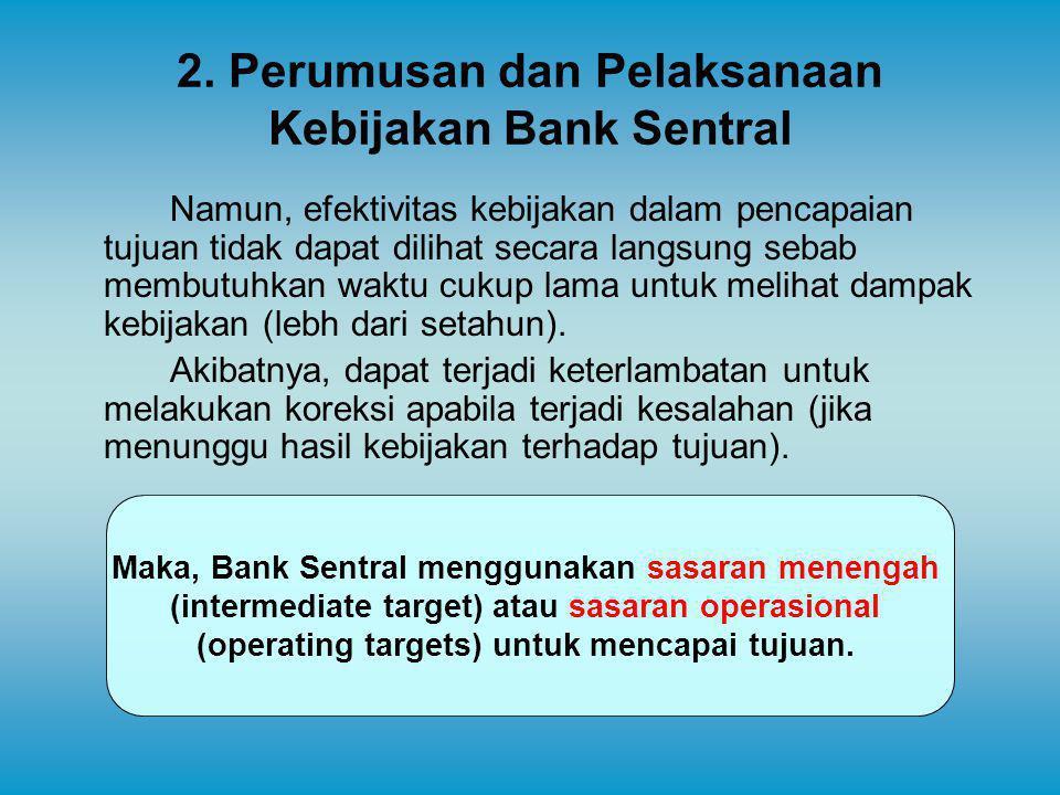2. Perumusan dan Pelaksanaan Kebijakan Bank Sentral Namun, efektivitas kebijakan dalam pencapaian tujuan tidak dapat dilihat secara langsung sebab mem