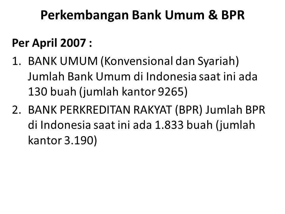 Perkembangan Bank Umum & BPR Per April 2007 : 1.BANK UMUM (Konvensional dan Syariah) Jumlah Bank Umum di Indonesia saat ini ada 130 buah (jumlah kanto