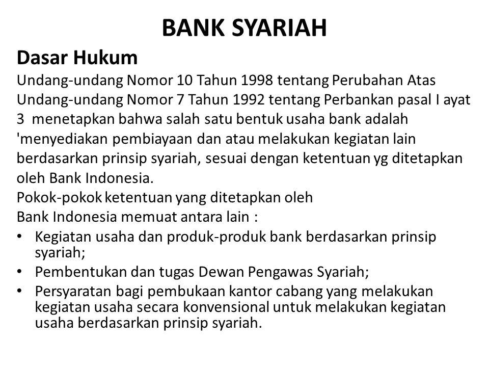 BANK SYARIAH Dasar Hukum Undang-undang Nomor 10 Tahun 1998 tentang Perubahan Atas Undang-undang Nomor 7 Tahun 1992 tentang Perbankan pasal I ayat 3 me