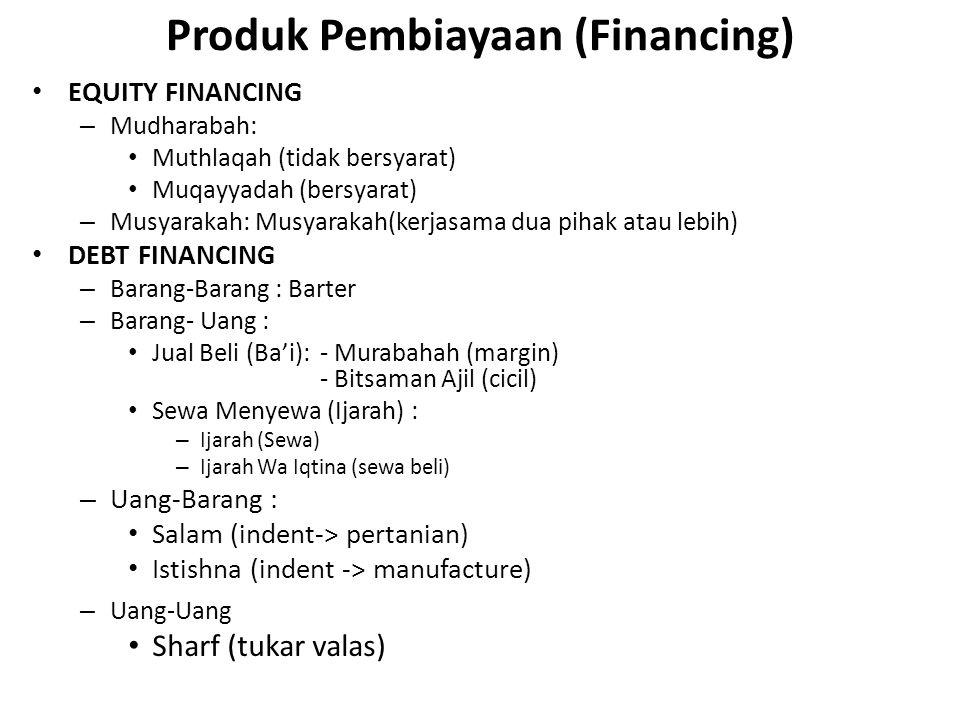 Produk Pembiayaan (Financing) EQUITY FINANCING – Mudharabah: Muthlaqah (tidak bersyarat) Muqayyadah (bersyarat) – Musyarakah: Musyarakah(kerjasama dua