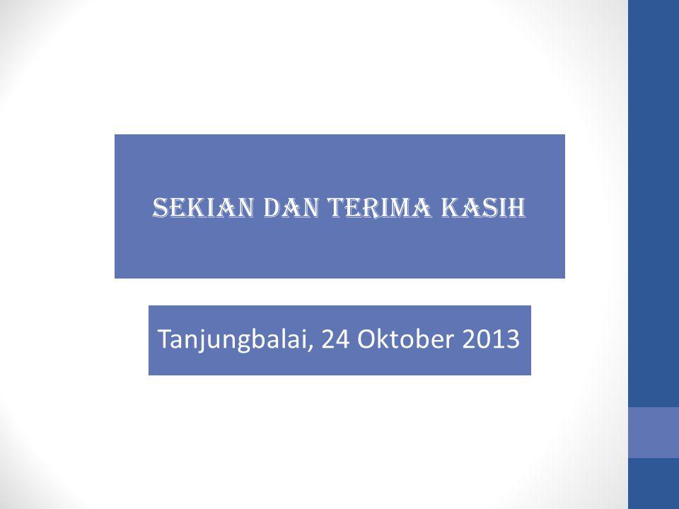 SEKIAN DAN TERIMA KASIH Tanjungbalai, 24 Oktober 2013