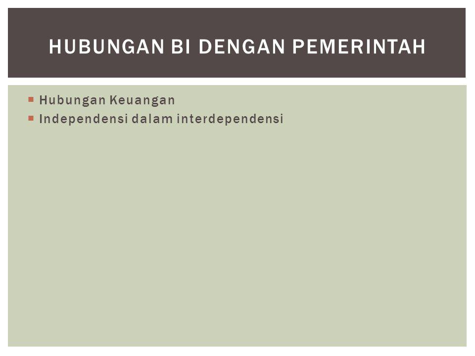  Hubungan Keuangan  Independensi dalam interdependensi HUBUNGAN BI DENGAN PEMERINTAH