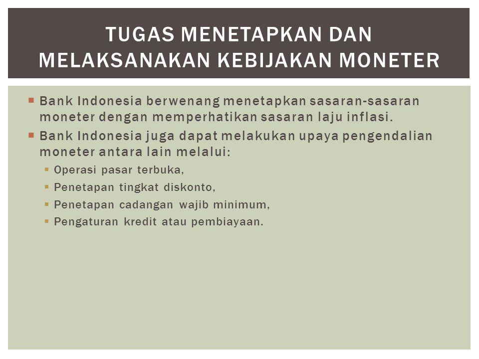  Bank Indonesia berwenang menetapkan sasaran-sasaran moneter dengan memperhatikan sasaran laju inflasi.  Bank Indonesia juga dapat melakukan upaya p