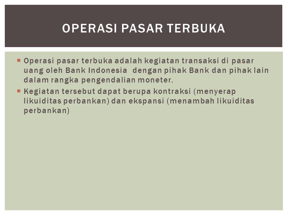  Operasi pasar terbuka adalah kegiatan transaksi di pasar uang oleh Bank Indonesia dengan pihak Bank dan pihak lain dalam rangka pengendalian moneter