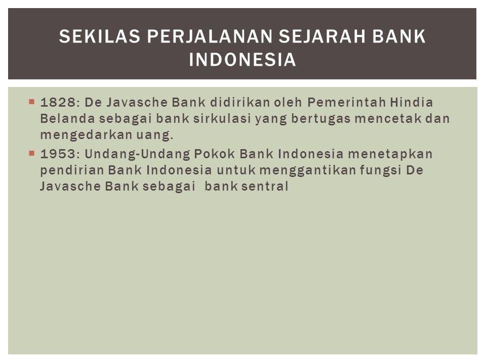  1968: Undang-Undang Bank Sentral mengatur kedudukan dan tugas Bank Indonesia sebagai bank sentral, terpisah dari bank-bank lain yang melakukan fungsi komersial.