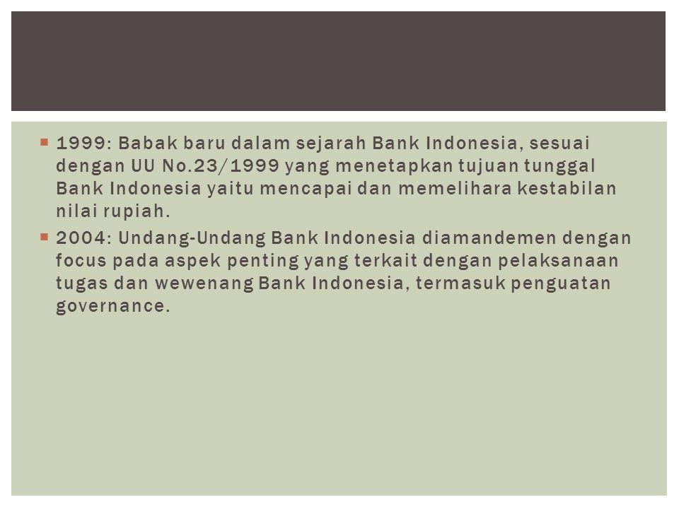  1999: Babak baru dalam sejarah Bank Indonesia, sesuai dengan UU No.23/1999 yang menetapkan tujuan tunggal Bank Indonesia yaitu mencapai dan memeliha