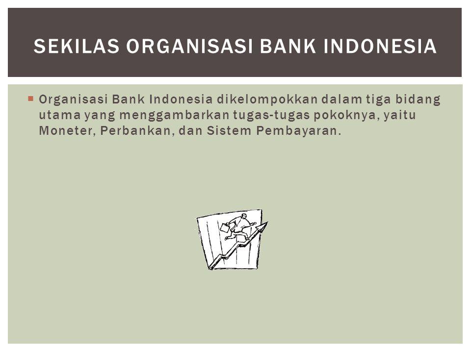  Organisasi Bank Indonesia dikelompokkan dalam tiga bidang utama yang menggambarkan tugas-tugas pokoknya, yaitu Moneter, Perbankan, dan Sistem Pembay