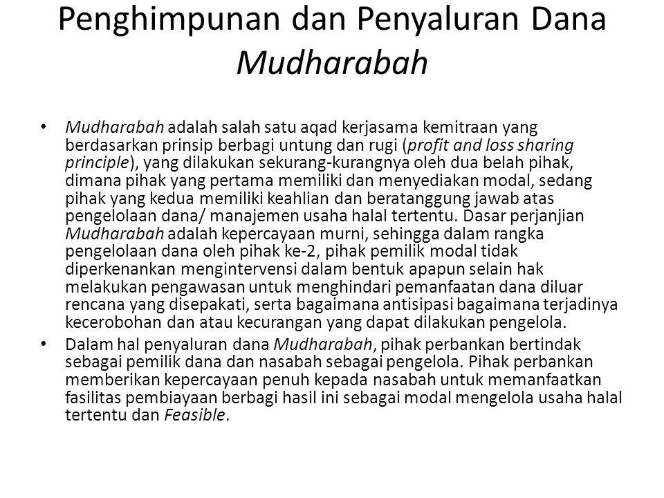 Penghimpunan dan Penyaluran Dana Mudharabah Mudharabah adalah salah satu aqad kerjasama kemitraan yang berdasarkan prinsip berbagi untung dan rugi (pr