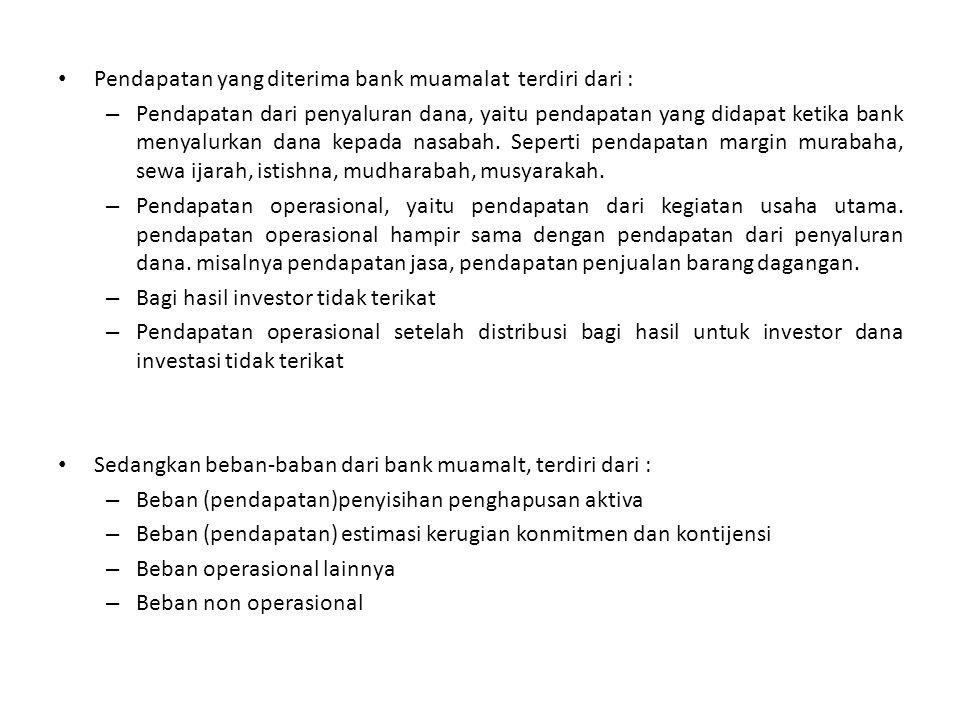 Pendapatan yang diterima bank muamalat terdiri dari : – Pendapatan dari penyaluran dana, yaitu pendapatan yang didapat ketika bank menyalurkan dana ke