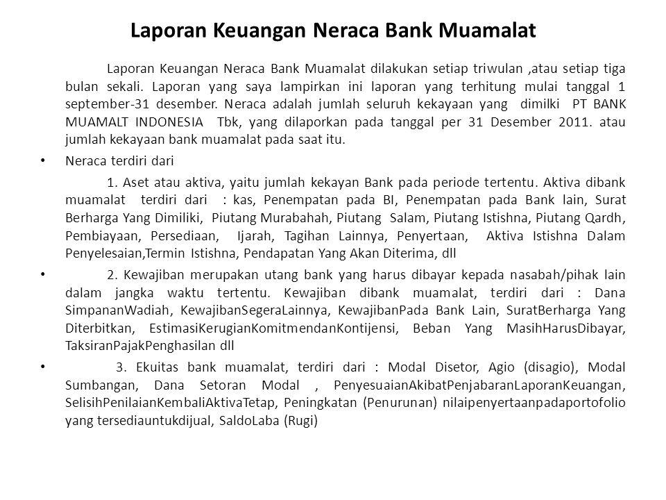 Laporan Keuangan Neraca Bank Muamalat Laporan Keuangan Neraca Bank Muamalat dilakukan setiap triwulan,atau setiap tiga bulan sekali. Laporan yang saya