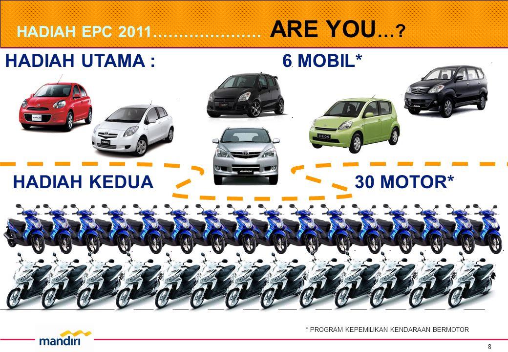 8 HADIAH UTAMA : 6 MOBIL* HADIAH EPC 2011………………… ARE YOU ….