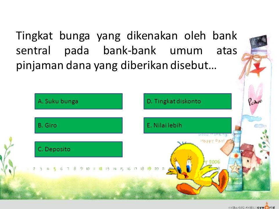 Tingkat bunga yang dikenakan oleh bank sentral pada bank-bank umum atas pinjaman dana yang diberikan disebut… A.